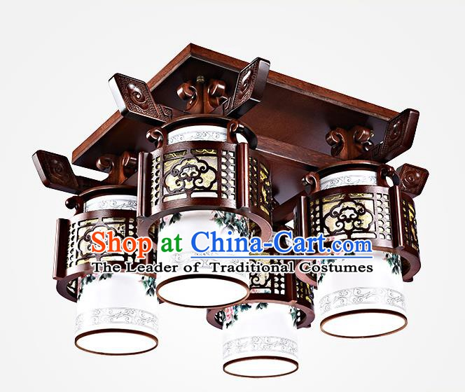 Traditional Chinese Painted Four-Lights Palace Lantern Handmade Wood Ceiling Lanterns Ancient Lamp