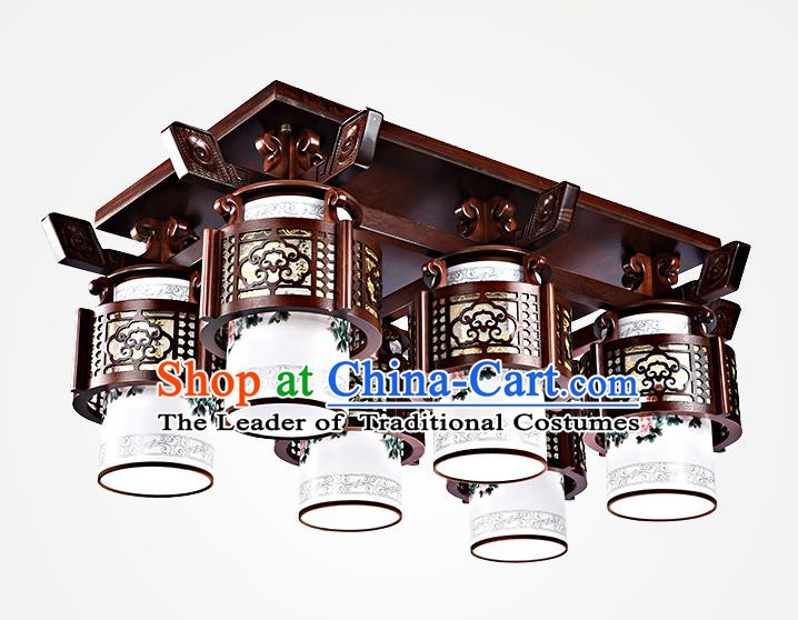 Traditional Chinese Painted Six-Lights Palace Lantern Handmade Wood Ceiling Lanterns Ancient Lamp