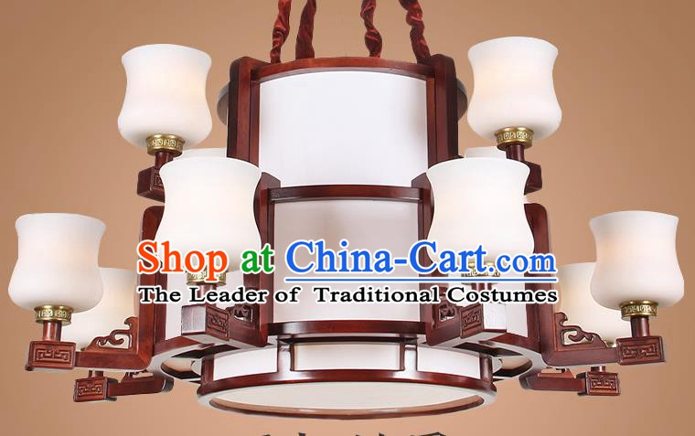 Traditional Chinese Twelve-Lights Palace Lantern Handmade Wood Ceiling Lanterns Ancient Lamp
