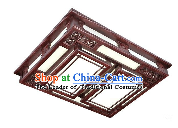 Traditional Chinese Palace Lantern Handmade Rosewood Ceiling Lanterns Ancient Lamp