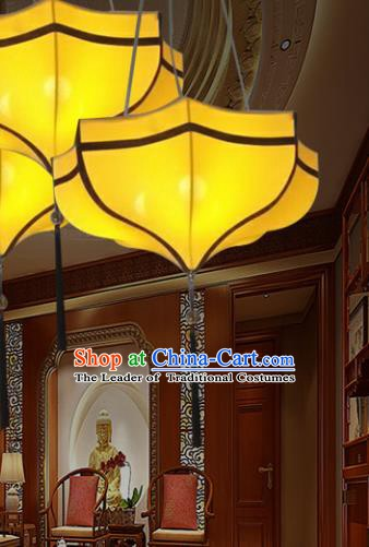 Traditional Chinese Yellow Palace Lantern Handmade Ceiling Lanterns Ancient Lamp