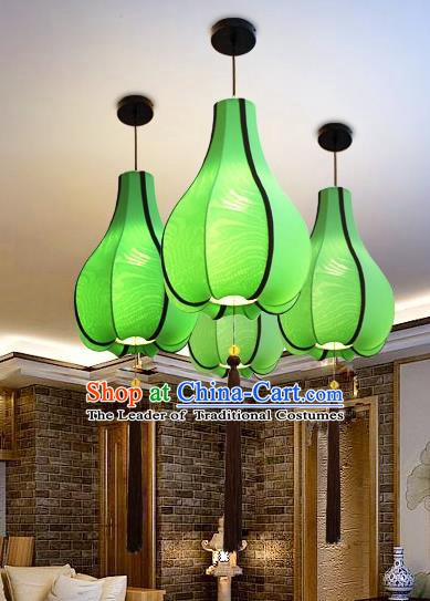 Traditional Chinese Green Fabrics Palace Lantern Handmade Hanging Lanterns Ancient Lamp