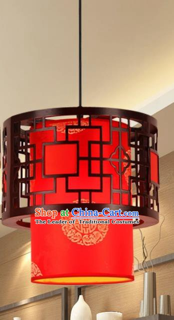 Traditional Chinese New Year Palace Lantern Handmade Wood Red Hanging Lanterns Ancient Lamp