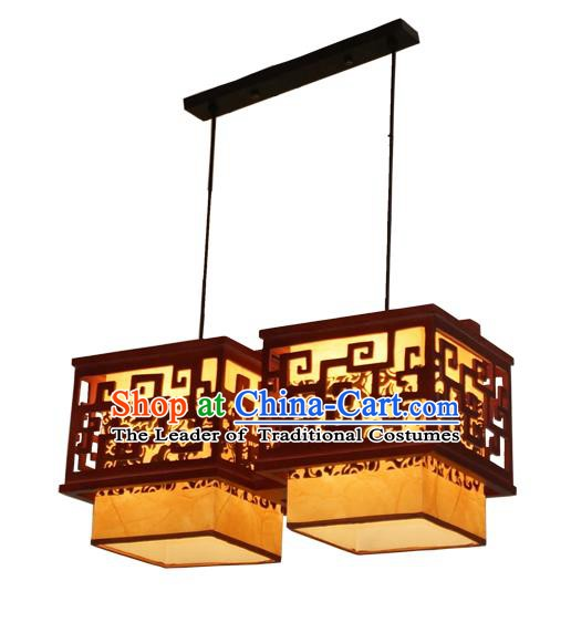 Traditional Chinese Parchment Palace Lantern Handmade Two-Lights Wood Ceiling Lanterns Ancient Lamp