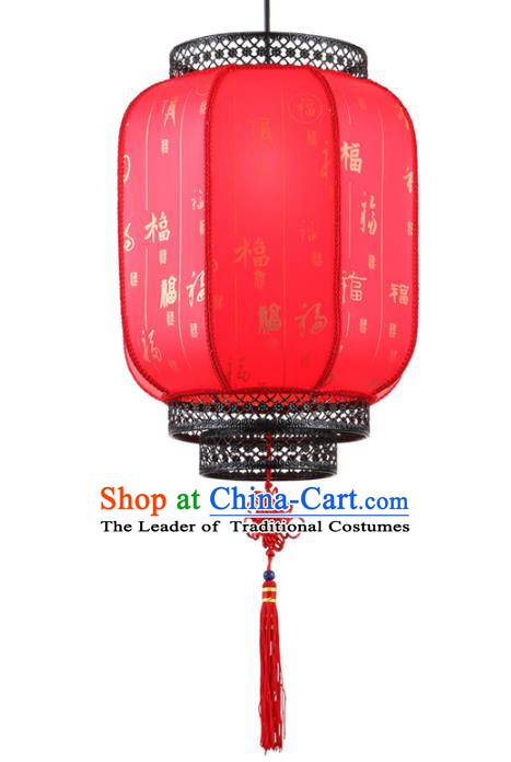 Traditional Chinese Red New Year Palace Lantern Handmade Ceiling Lanterns Ancient Lamp