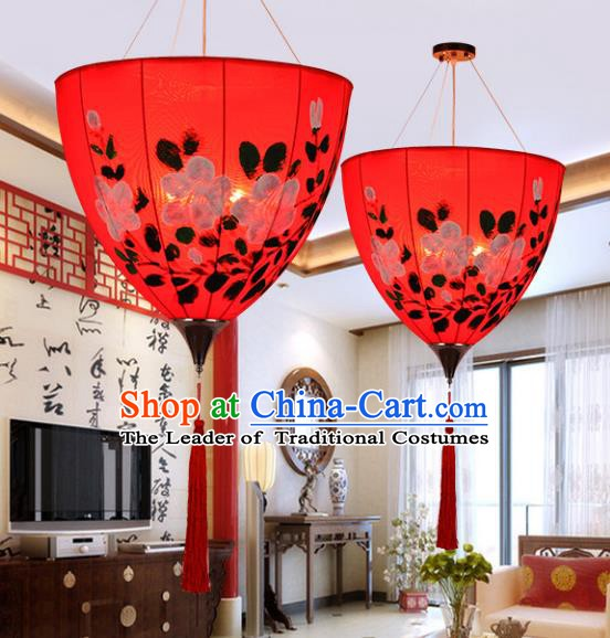 Top Grade Handmade Painted Red Lanterns Traditional Chinese Palace Lantern Ancient Ceiling Lanterns