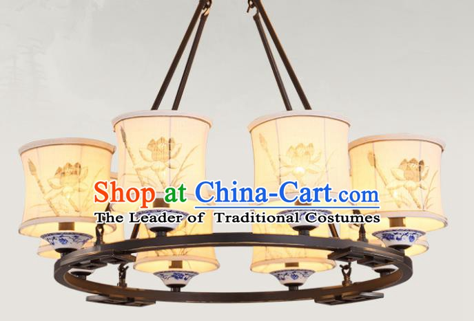 China Handmade Eight-Lights Ceiling Lanterns Traditional Chinese Painting Lotus Palace Lantern Ancient Lanterns