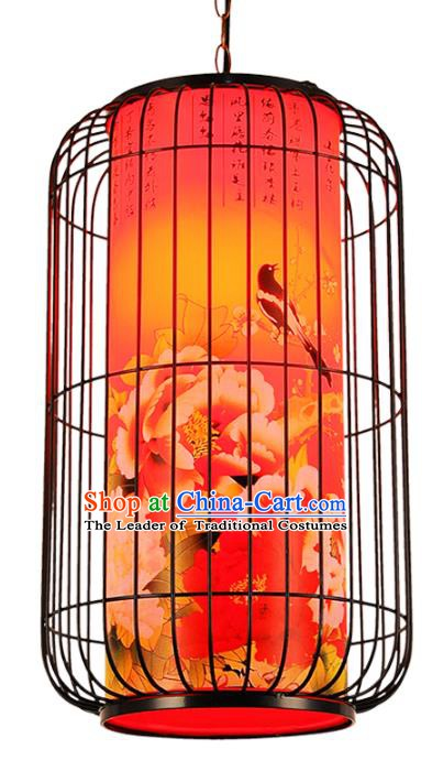 Top Grade Handmade Painting Peony Palace Lanterns Traditional Chinese Red Lantern Ancient Ceiling Lanterns