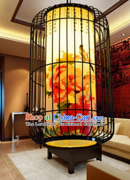 Top Grade Handmade Painting Peony Palace Lanterns Traditional Chinese Iron Lantern Ancient Ceiling Lanterns