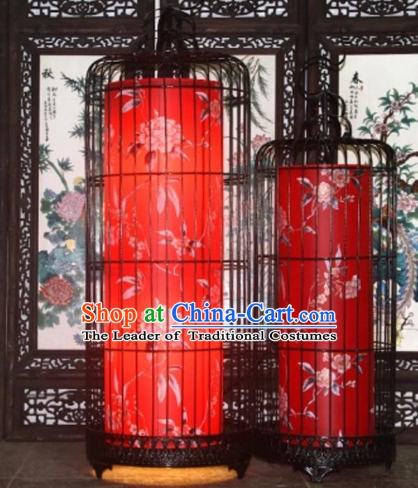 Top Grade Handmade New Year Red Lanterns Traditional Chinese Iron Painting Peony Palace Lantern Ancient Ceiling Lanterns