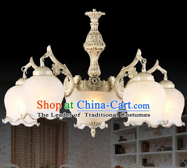 Top Grade Handmade Hanging Five-Lights Lanterns Traditional Chinese Ceiling Palace Lantern Ancient Lanterns
