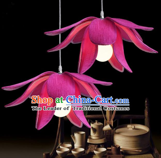 Top Grade Handmade Rosy Lotus Lanterns Traditional Chinese Ceiling Palace Lantern Ancient Lanterns