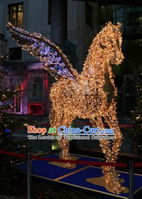 Traditional Christmas Pegasus Horse Light Show Decorations Lamps Stage Display Lamplight LED Lanterns