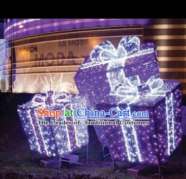 Traditional Christmas Gift Box Light Show Decorations Lamps Stage Display Lamplight LED Lanterns