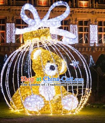 Traditional Christmas Bear Light Show Decorations Lamps Stage Display Lamplight LED Lanterns