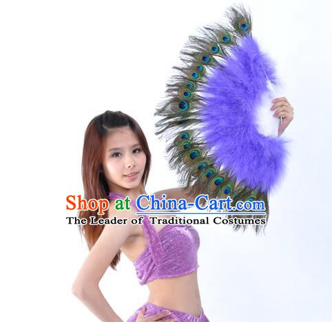 Indian Bollywood Belly Dance Fans Purple Feather Folding Fans for Women