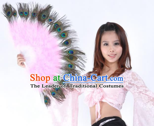 Indian Bollywood Belly Dance Fans Pink Feather Folding Fans for Women