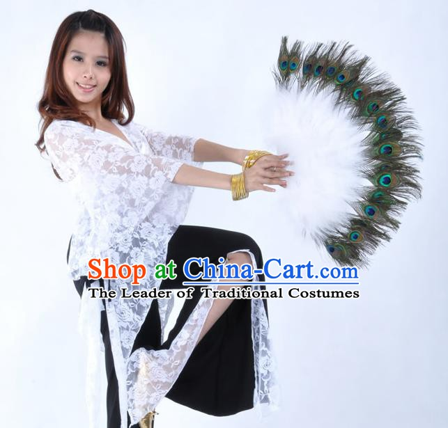 Indian Bollywood Belly Dance Fans White Feather Folding Fans for Women