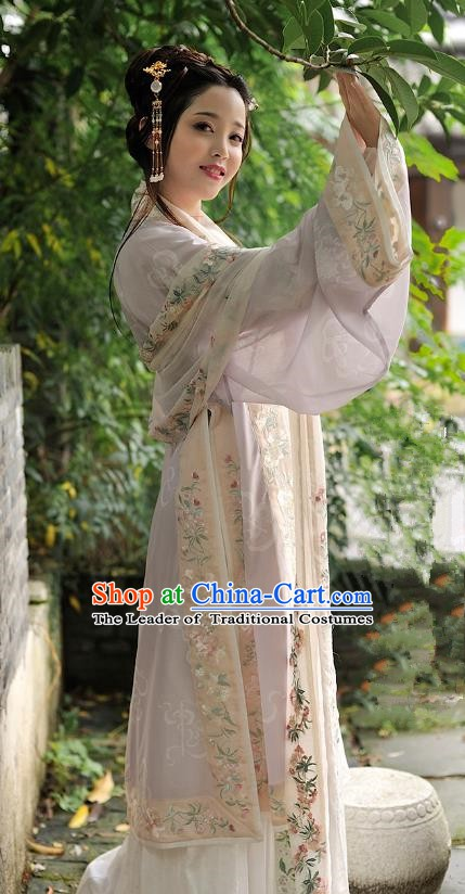 Traditional Chinese Tang Dynasty Nobility Lady Dress Ancient Fairy Embroidered Costume Complete Set