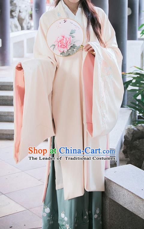 Traditional Chinese Ming Dynasty Princess Embroidered Cloak Ancient Hanfu Costume for Women