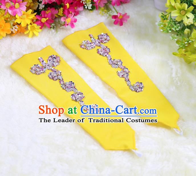 Indian Bollywood Belly Dance Accessories Yellow Oversleeve Sleevelet for Kids
