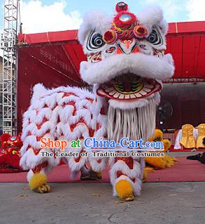 Chinese Traditional Parade White Southern Lion Head Professional Wool Lion Dance Costumes Complete Set