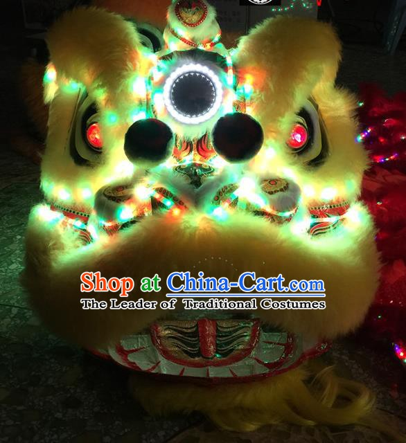 Top Grade Chinese Traditional LED Light Green Lion Head Professional Lion Dance Costumes Complete Set