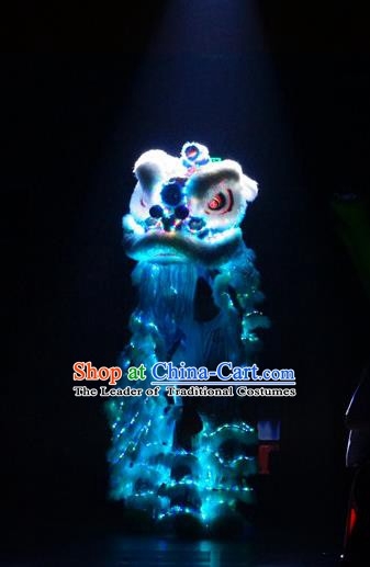 Top Grade Chinese Traditional LED Light Blue Lion Head Professional Lion Dance Costumes Complete Set
