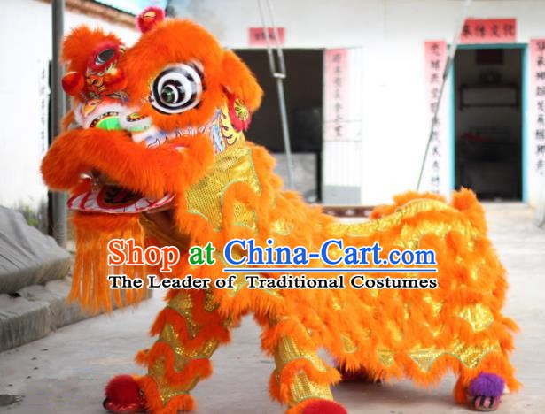 Top Grade Chinese Traditional Orange Wool Lion Head Professional Lion Dance Costumes Complete Set