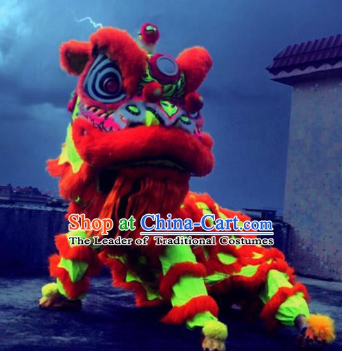 Top Grade Chinese Traditional Fluorescence Lion Head Professional Lion Dance Costumes Complete Set