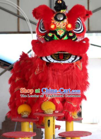 Chinese Traditional Spring Festival Red Wool Lion Head Professional Lion Dance Costumes Complete Set