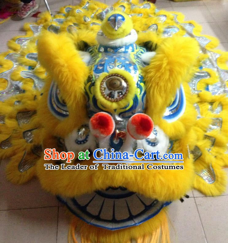 Chinese Professional Lion Dance Costumes Celebration and Parade Long Wool Blue Lion Head Complete Set