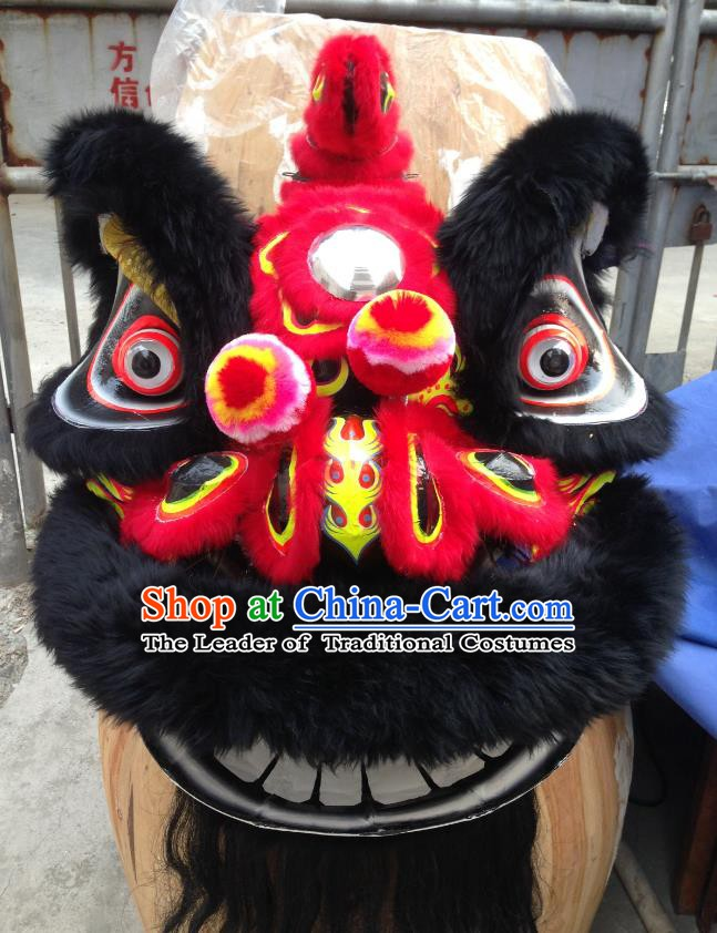 Chinese Traditional Professional Lion Dance Costumes Celebration and Parade Wool Red Lion Head Complete Set