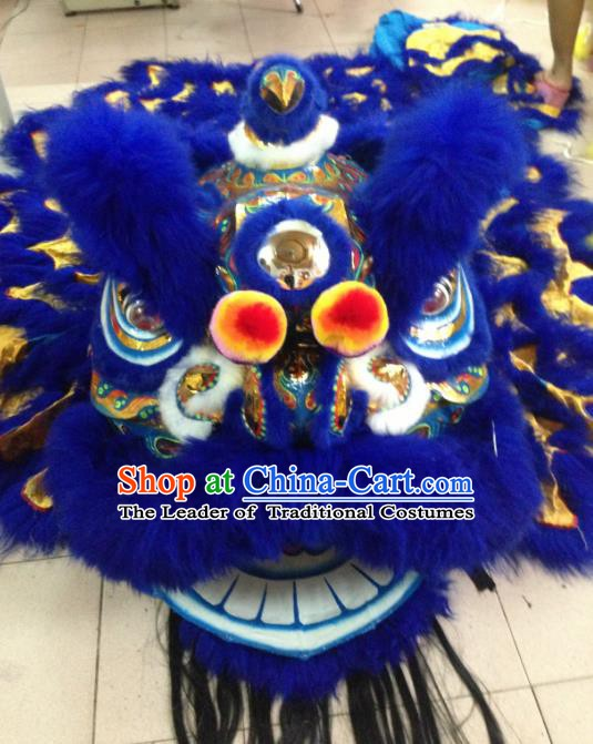 Chinese Traditional Professional Royalblue Wool Lion Dance Costumes Celebration and Parade Lion Head Complete Set