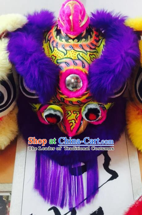 Chinese Traditional Professional Wool Lion Dance Costumes Celebration and Parade Purple Lion Head Complete Set