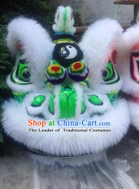 Chinese Traditional Professional White Wool Lion Dance Costumes Celebration and Parade Lion Head Complete Set