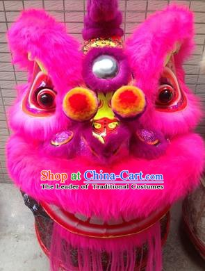 Chinese Traditional Rosy Wool Lion Dance Costumes Professional Celebration and Parade Lion Head Complete Set