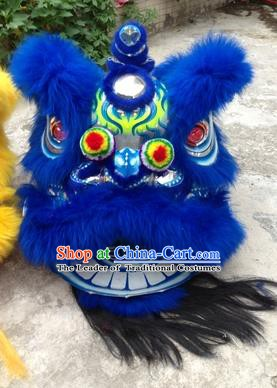 Chinese Traditional Blue Wool Lion Dance Costumes Professional Celebration and Parade Lion Head Complete Set