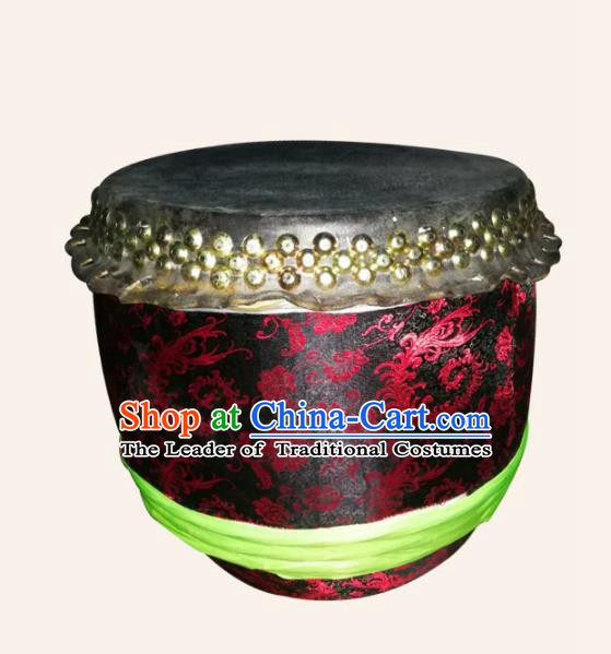 China Traditional Lion Dance Instruments Cowhide Drum Lion Black Leather Drums