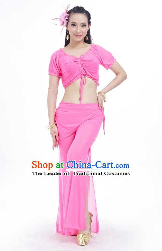 Indian Traditional Belly Dance Pink Costume India Oriental Dance Clothing for Women