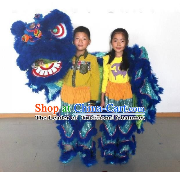 Chinese Traditional Children Lion Dance Costumes Professional Celebration Parade Blue Wool Lion Head Complete Set