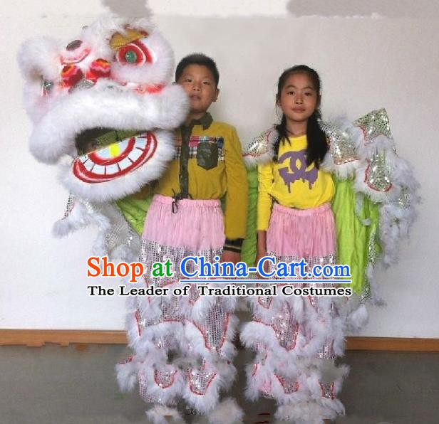 Chinese Traditional Children Lion Dance Costumes Professional Celebration Parade White Wool Lion Head Complete Set