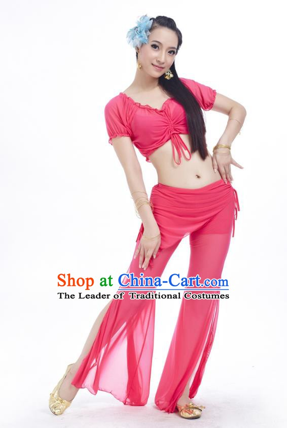 Indian Traditional Belly Dance Peach Pink Costume India Oriental Dance Clothing for Women