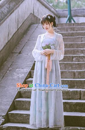Traditional Chinese Ancient Embroidered Costume Song Dynasty Young Lady Hanfu Dress for Women