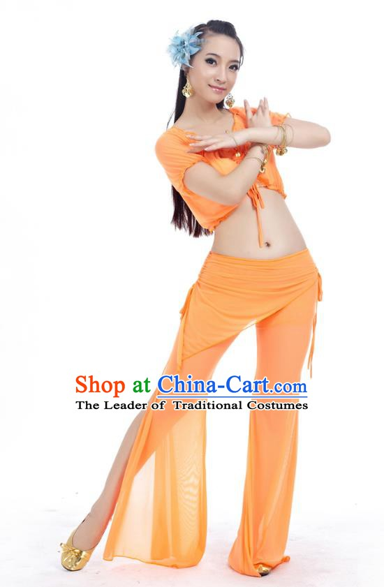 Indian Traditional Belly Dance Orange Costume India Oriental Dance Clothing for Women