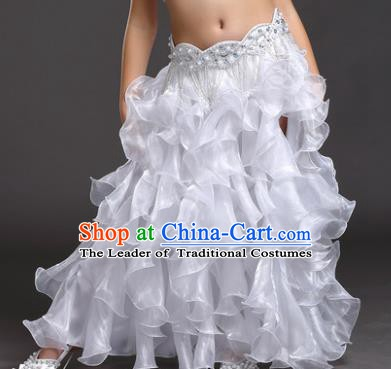 Traditional Indian Belly Dance White Skirts Asian India Oriental Dance Costume for Women