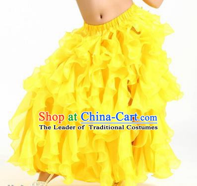 Traditional Indian Belly Dance Yellow Skirts Asian India Oriental Dance Costume for Women
