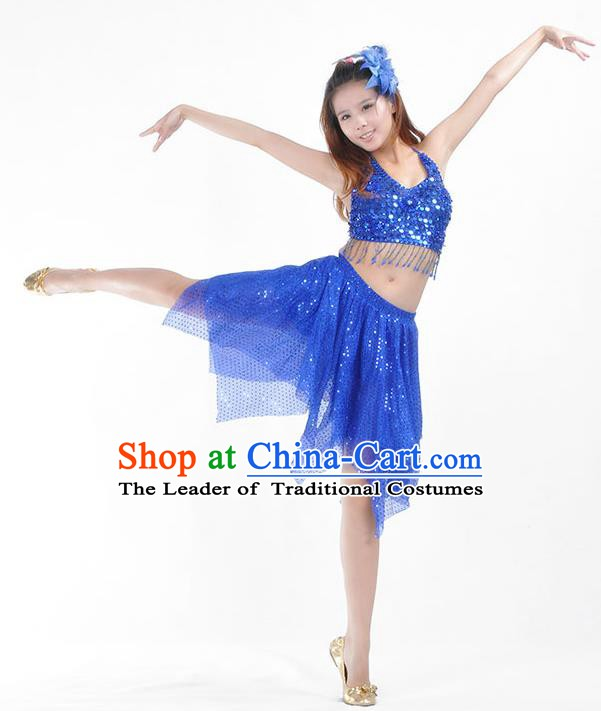 fff029ae7c75 Traditional Indian Belly Dance Royalblue Sequin Clothing India Oriental  Dance Costume for Women