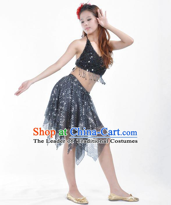 e6e481c47aab Traditional Indian Belly Dance Black Sequin Clothing India Oriental Dance  Costume for Women