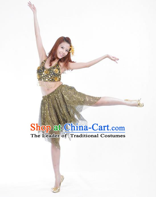 6ee2fb6cbccd Traditional Indian Belly Dance Golden Sequin Clothing India Oriental Dance  Costume for Women